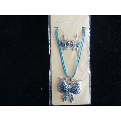 Ketting blauw vlinder rond met bijpassende oorbellen