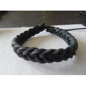 Leren armband zwart gevlochten