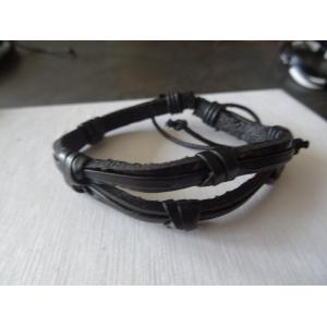 Leren armband zwart 2 banden gevlochten