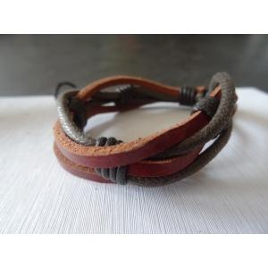 Leren armband bruin/lichtbruin 4 bands gevlochten