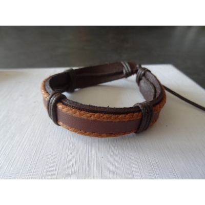 Leren armband bruin/lichtbruin