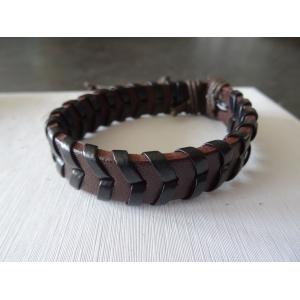 Leren armband bruin/zwart v-vorm
