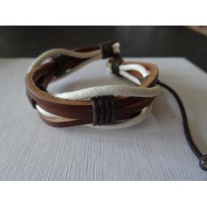Leren armband bruin/wit met touw