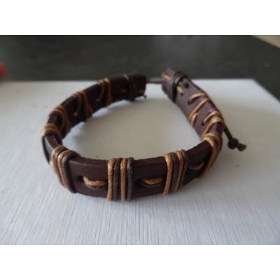 Leren armband bruin met touw