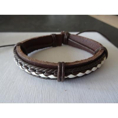 Leren armband bruin/wit gevlochten