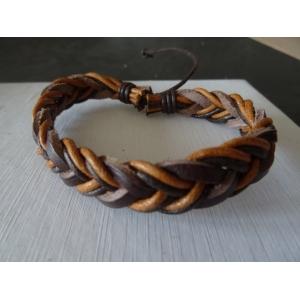 Leren armband bruin/lichtbruin gevlochten