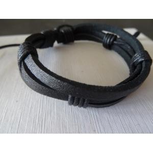 Leren armband zwart 3 bands
