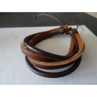 Leren armband bruin/lichtbruin 4 bands