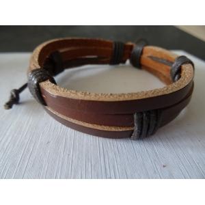 Leren armband bruin 3 bands