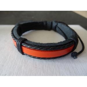 Leren armband zwart met oranje band