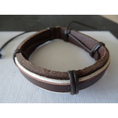 Leren armband bruin/wit