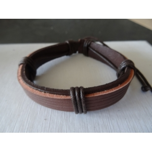 Leren armband bruin 5 bands