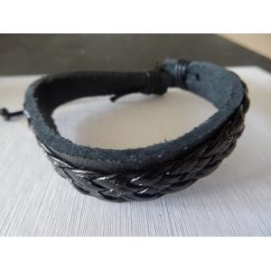 Leren armband zwart gevlochten met band