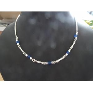 Collier nikkelvrij met blauwe accenten