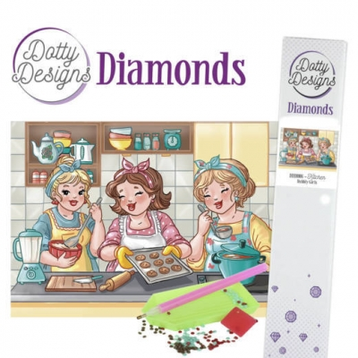 Dotty design diamond painting 42x29,7cm: bubbly girls kitchen