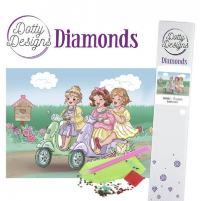 Dotty design diamond painting 42x29,7cm: bubbly girls scooter