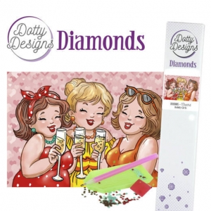 Dotty design diamond painting 42x29,7cm: bubbly girls cheers