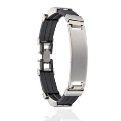 Armband staal en rubber 20,5