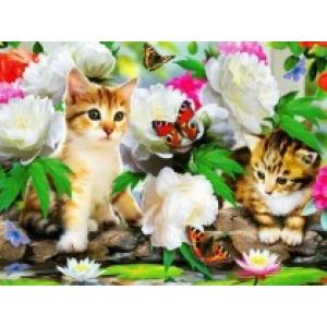 Mona Lisa diamond painting 50x40cm: vlinders-kittens