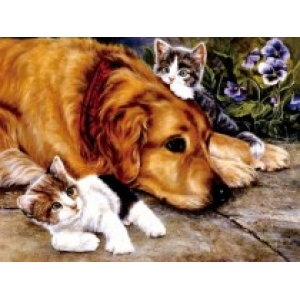 Mona Lisa diamond painting 40x30cm: hond met kittens