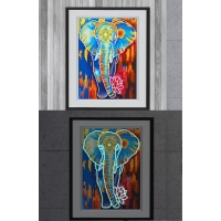 Mona Lisa diamond painting 35x25cm: glow in the dark olifant blauw