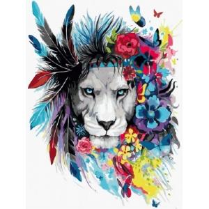 Schilderen op nummer 50x40cm (op frame): leeuw kleurrijk