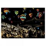 Scratch painting: Cappadocie met luchtballonnen
