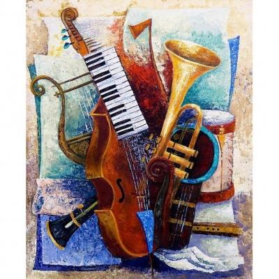 Diamond painting pakket 34x24cm: muziekinstrumenten