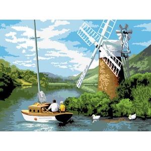 Schilderen op nummer 40x30cm:windmolen bij de rivier