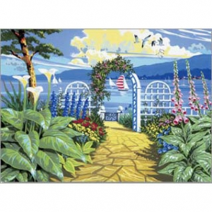 Schilderen op nummer 40x30cm: tuin uitzicht