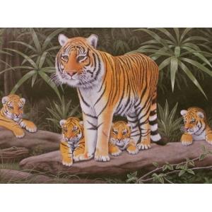 Schilderen op nummer 40x30cm: tijger met jongen
