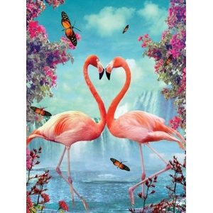 Mona Lisa diamond painting 40x30cm: flamingo's met vlinders